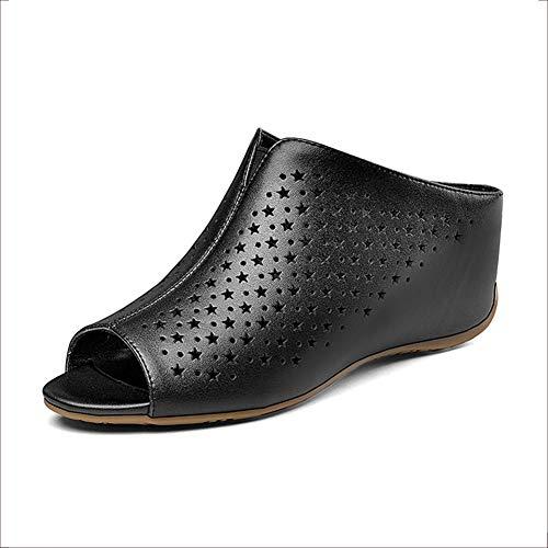 Wedsf Sandale Damen Flip Flops Sandalen für Frauen-Plattform Bequeme Plattform-Sandelholz-Sommer-Strand-Reise Schuhe,Schwarz,34