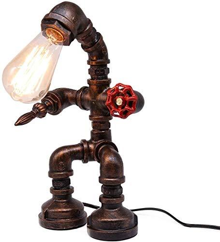 Lámpara de mesa con diseño de robot vintage, industrial, creativa, tubo de agua, lámpara LED de escritorio para mesita de noche, bar, restaurante (Bombilla no incluida)