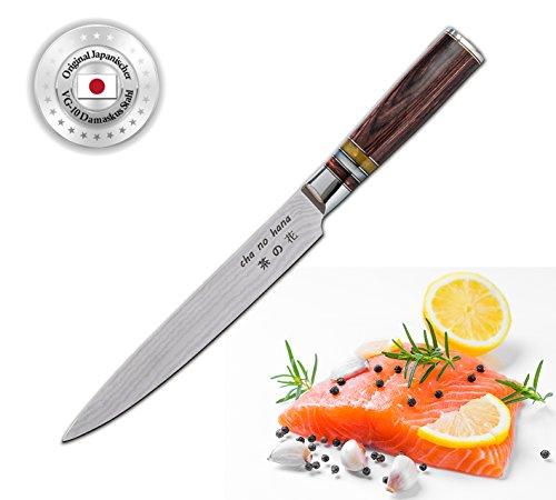 Cha No Hana Damast Sashimi Couteau de cuisine en acier damassé VG10 Lame 20 cm 67 couches, couteau à filet, couteau à poisson et viande, couteau de cuisine, couteau de chef, couteau à sushis