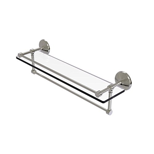 Allied Brass MC-1TB/22-GAL-SN 22 Inch Gallery Towel Bar Glass Shelf, Satin Nickel