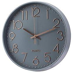 Wall Clock Battery Operated Silent Non-Ticking Wall Clock 12 Inch Modern Quartz Design Decorative Indoor Kitchen Office