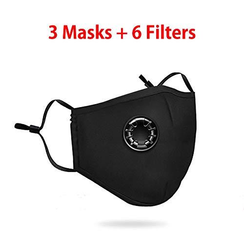 Maske, Anti-Gas und Anti-Fog, geeignet zum Laufen, Radfahren, sauberen Gebrauch, ausgestattet mit 6 Filtern, jeder Filter kann 30 Tage lang verwendet werden.