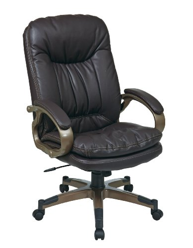 Office Star Bonded Leather Seat and Back Executives Chair with Fixed Arms and Cocoa Coated Accents, Espresso