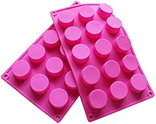 BAKER DEPOT 15 Holes Cylinder Silicone Mold for Handmade soap Jelly Pudding Cake Baking Tools Biscuit Cookie Molds Hole Dia: 1.58inch Set of 2
