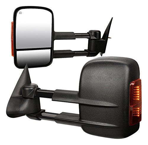 DNA MOTORING TWM-001-T888-BK-AM Pair of Towing Side Mirrors (Driver & Passenger Sides),Black / Amber