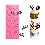 Deer Antlers Shape Silicone Fondant Mold Elk Stag Horn Gum Paste Mold Chocolate Candy Sugar Craft Mold for Cakes Cupcake Decorating Polymer Clay Epoxy Resin Mold