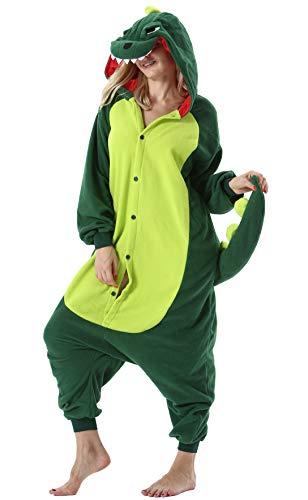 Damen Herren Jumpsuit Onesie Tier Fasching Halloween Kostüm Lounge Sleepsuit Cosplay Overall Pyjama Schlafanzug Erwachsene Unisex Dinosaurier for Höhe 140-187CM