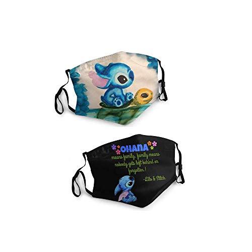 Stitch Face Mask Adjustable Face Masks Washable Bandana Scarf Funny Black Face Mask for Men Women Kids 2 Pcs