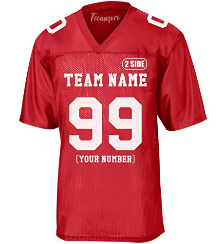 Custom Replica Football Jerseys for Men Personalized, Add Your Team Name Number True Red