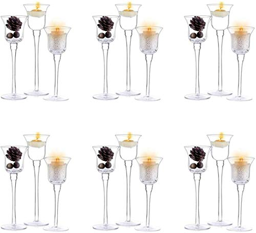 NVT3 candelabros candelabros, Diferentes tamaños L-26cm, M-23cm, S-20cm de Alto, candelabro de Vidrio para Velas de té y pilares, votos, 6 Juegos
