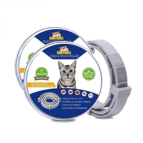 Banydoll Collar Tamaño Ajustable Impermeable para pulgas y garrapatas para Gatos, protección de 8 Meses, el Mejor Tratamiento para Control de pulgas para Gatos y Gatitos(38cm)