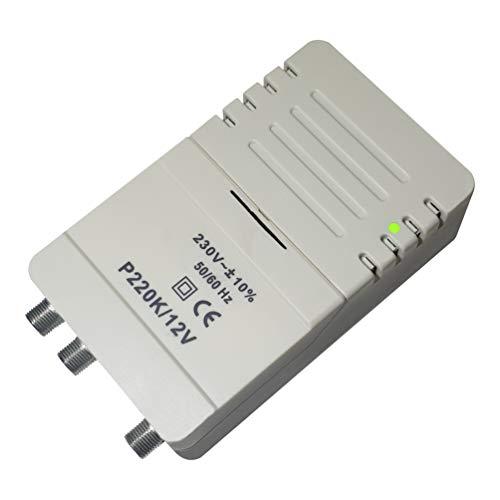 Elettronica Cusano P220K-12V - Amplificatore per Antenna Digitale da Interno a 2 Uscite con Tele-alimentazione, Connettore F, Amplificatore di Linea con Guadagno Regolabile 24dB VHF/UHF