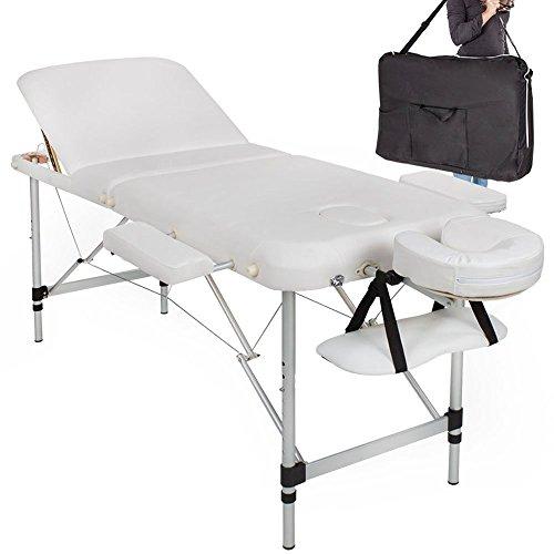 Bakaji Lettino Massaggio Alluminio Pieghevole 3 ZONE Massaggi Fisioterapia SPA Centro Benessere Estetista Professionale Bianco 12Kg con Borsa Trasporto (Struttura in Alluminio, Bianco)
