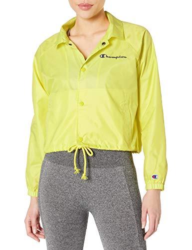 Champion Women's Cropped Coaches Jacket, Journey Yellow, Medium