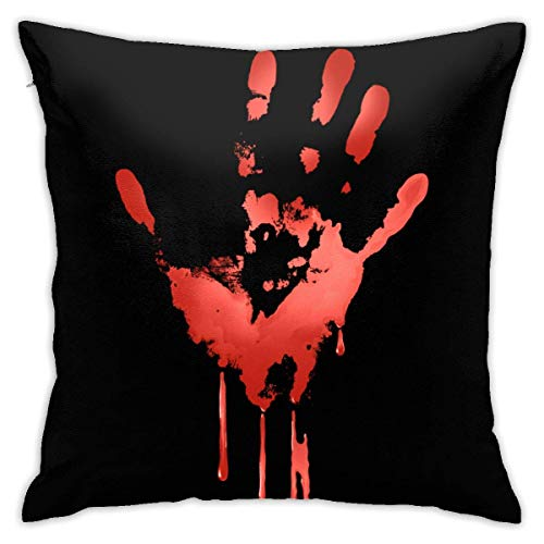 wteqofy Velvet Pillow Covers Halloween Blood Hand Pillow Cases Decorative Square Pillowcase Soft Cushion Case for Sofa Bedroom Car 18 X 18 Inch