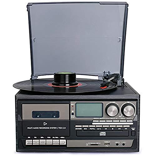 ZHIRCEKE Vinil Platino para Reproductor de Discos de Vinilo Bluetooth, CD Platinum, Cassette, Entrada Auxiliar de Radio Am/FM, codificación USB SD, Control Remoto,B