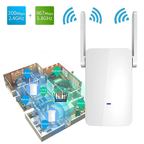 QYJY Repetidor WiFi Amplificador WiFi 1200Mbps con 2 Antenas De Doble Banda, Temporizador Interruptor WiFi, Admite El Estándar IEEE802.1lac/a/b/g/n