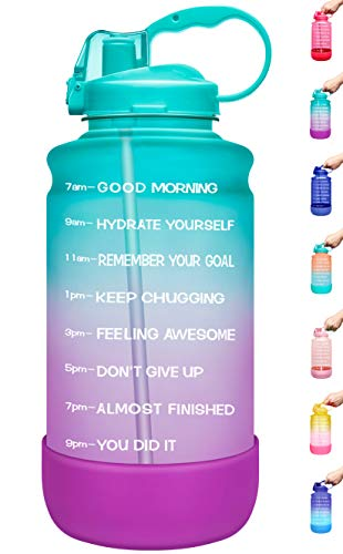 Elvira Large 1 Gallon/128 oz Motivational Time Marker Water Bottle with Straw & Protective Silicone Boot, BPA Free Anti-slip Leakproof for Fitness, Gym and Outdoor Sports-Green/Purple Gradient