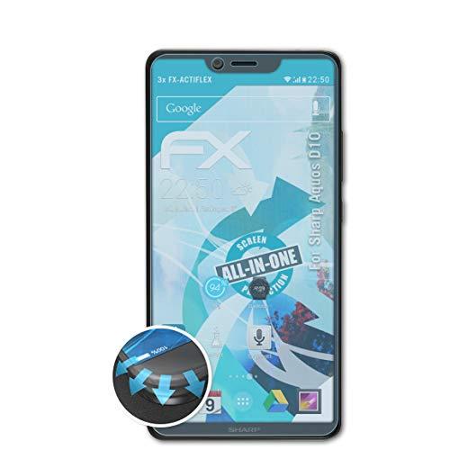 atFolix Schutzfolie kompatibel mit Sharp Aquos D10 Folie, ultraklare & Flexible FX Bildschirmschutzfolie (3X)