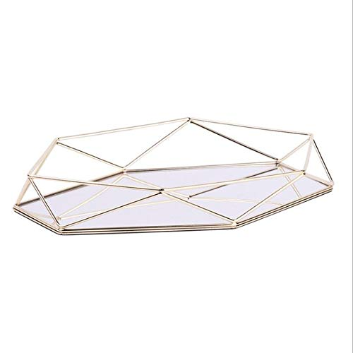 N \ A Dekoratives Tablett Gespiegelte Metall Verzierte, Plattierte Lagerung Kosmetische Parfüm Spiegel Tablett Für Frauen GirlOrganizer Lagerung Geometrische Prisma Tablett Schreibtisch Arbeitsplatte