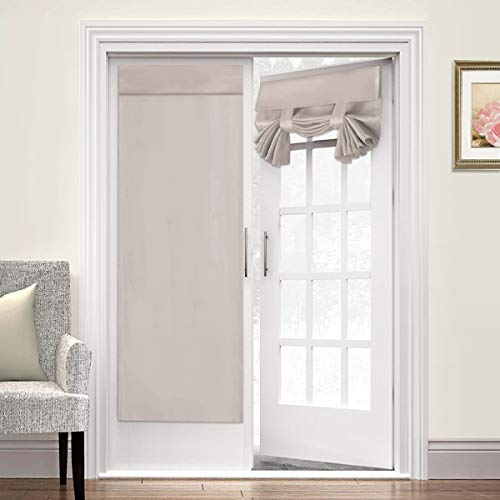 Trcia Door Curtain Panel for French Doors Solid Curtain Tricia Window Door Curtains No Rod Necessary Door Panels -Thermal Insulated & Privacy Assured Window Drape 26W by 68L, 2 Panel, Natural