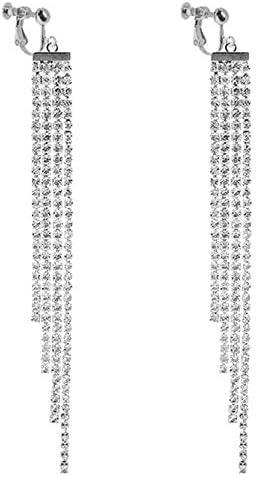 Waterfall Clip on Dangle Earrings for Women Girls Chandelier Drop Boho Tassel Rhinestone Long Fringe