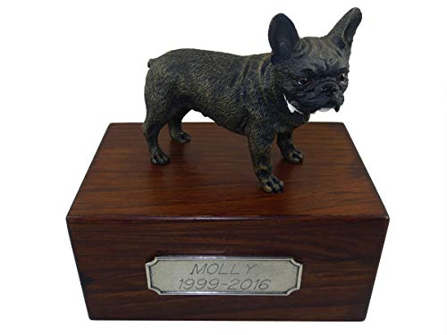 Conversation Concepts Beautiful Paulownia Small Wooden Urn with French Bulldog Figurine & Personalized Pewter Engraving