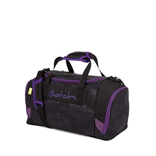 Satch Sporttasche - 25l, Schuhfach, gepolsterte Schultergurte - Purple Hibiscus - Black