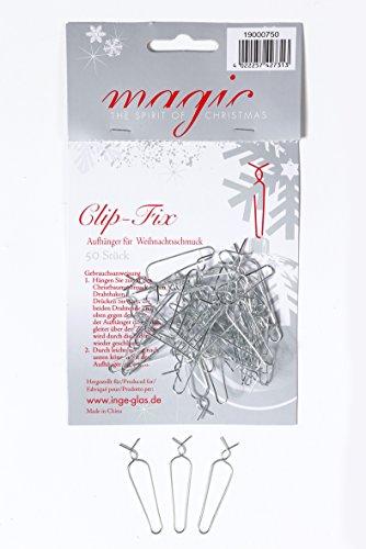 MAGIC Clip Fix Aufhänger 50 Stück Kugelaufhänger Aufhänger für Weihnachtskugeln Silber