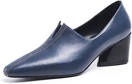 QYYDGGX Talons Hauts Mode Décontracté Femmes pour des Escarpins en Cuir Véritable Carré Talons Hauts Printemps été Décontracté Travail Partie Chaussures Chaussures Femme