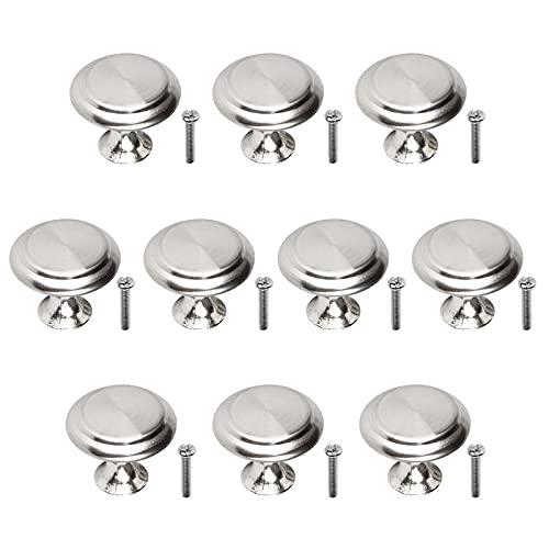 KIMI-HOSI 10 Pezzi Manopole per Mobili con Viti Rotondo Pomelli per Porta Pomelli per Mobili 23mm Manopole per Cassetti Cucina Armadio - Argento