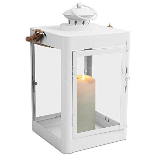 Multistore 2002 Laterne H33cm mit Seil-Henkel Gartenlaterne Metalllaterne Windlicht Metallgestell mit Glasfenstern Kerzenhalter, Farbe:Weiß