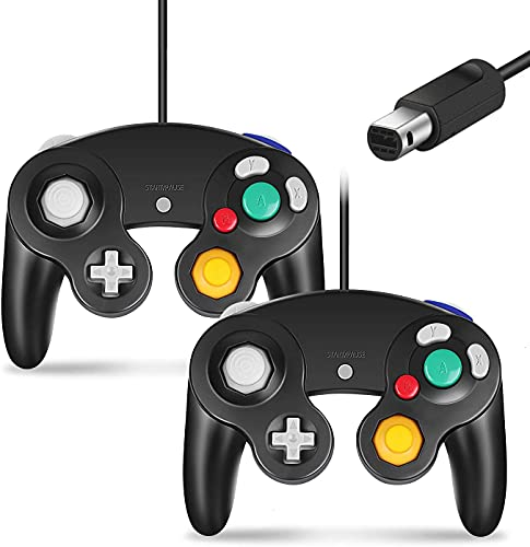 Cipon Gamecube Controller, Classic Controller Gamepad Compatible with Nintendo Wii, Upgraded - 2 Pack | Black
