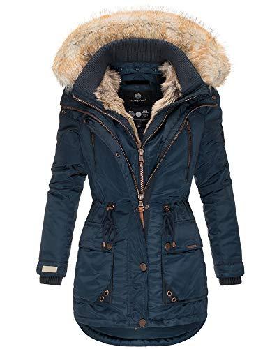 Marikoo Damen Winter Jacke Parka Mantel Kunst-Pelz Kragen Kapuze Warm NEU GRK103 (M, Blau)