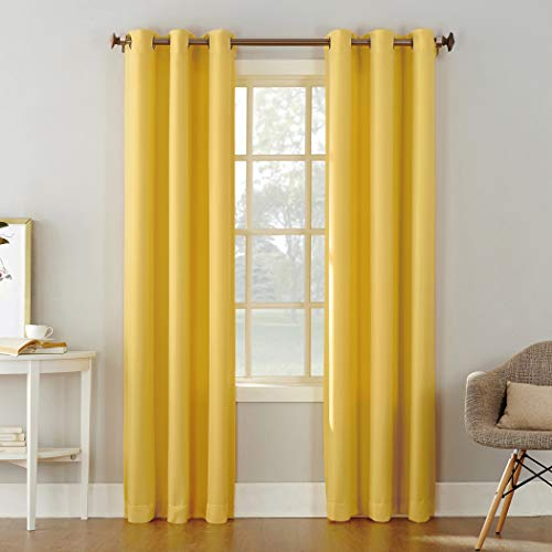 """No. 918 Montego Casual Textured Grommet Curtain Panel, 48"""" x 84"""", Yellow"""