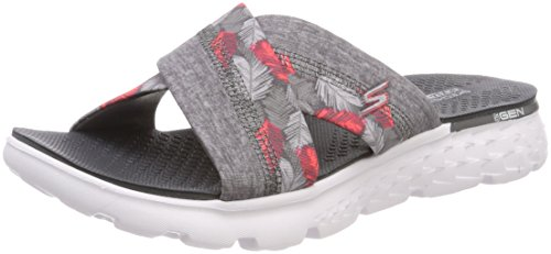Skechers Performance Women's On The Go 400 Tropical Flip Flop, Gray Tropical, 8 M US