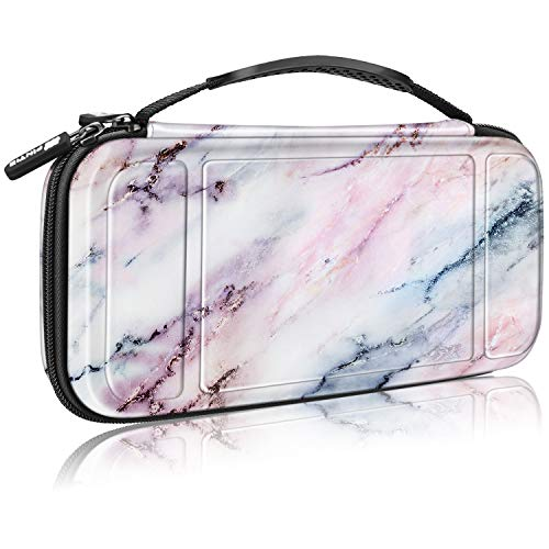 Fintie Carry Case for Nintendo Switch - [Shockproof] Hard Shell Protective Cover Travel Bag w/10 Game Card Slots, Inner Pocket for Nintendo Switch Console Joy-Con & Accessories, Marble Pink