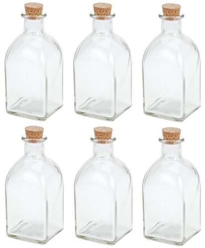 Botella de cristal de 250 ml para licor casero conserva cordial Brandy Sloe con tapón de corcho 6 unidades
