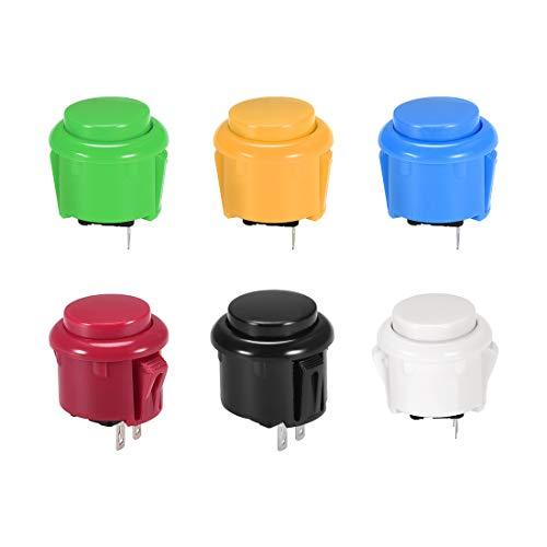 uxcell プッシュボタンスイッチラウンド23 mm取り付け穴 モメンタリーゲームアーケードビデオゲーム用 6色 6個