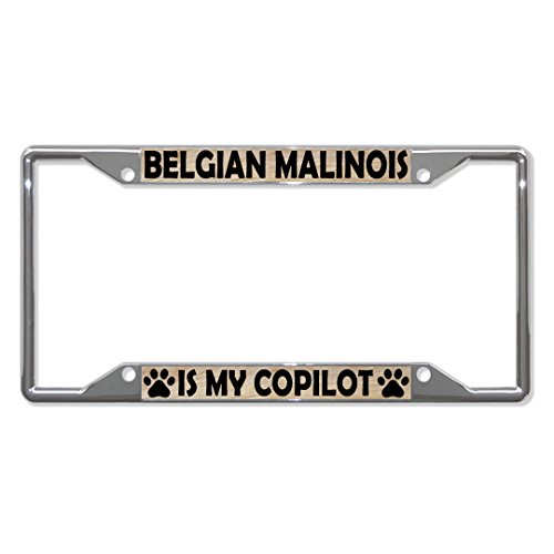Belgian Malinois Dogs Metal License Plate Frame Tag Holder Four Holes Perfect for Men Women Car garadge Decor