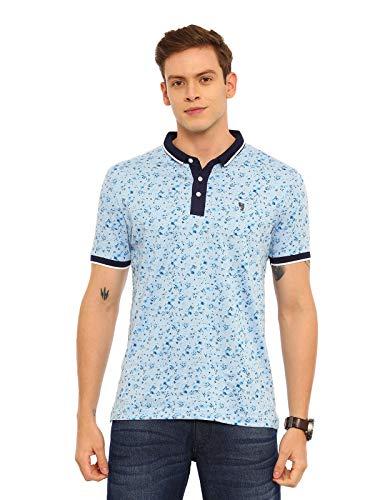 SWISS CLUB Mens Striped Slim Fit Collared Neck T-Shirt (STAG - 42 B SF P-M) Blue