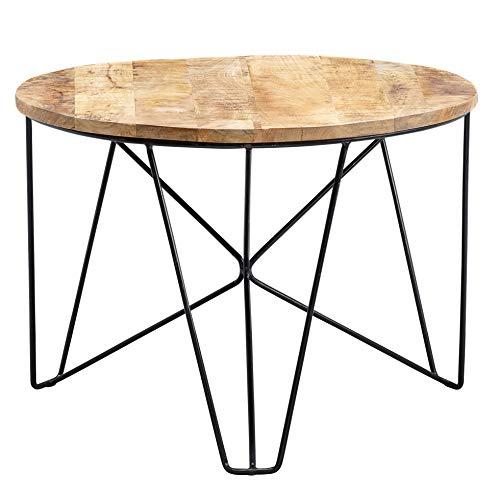 Wohnling Mesa de centro redonda de 60 x 43 x 60 cm, madera maciza de mango/metal industrial, mesa de salón, mesa de salón, mesa pequeña para el salón