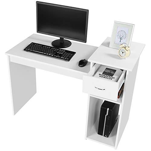 Yaheetech Mesa de Ordenador con Cajones Blanca 112 x 50 x 82 cm Escritorio Moderno para Computadora Escritorio para Oficina
