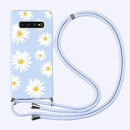"Yoedge Funda con Cuerda para Samsung Galaxy Note 8 6,3"",Púrpura Claro TPU Silicona Mate Lindo Dibujos Animados Case con Colgante Ajustable Correa de Cordón Cárcasa para Samsung Note 8,Flor 3"