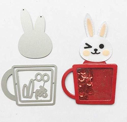 Rabbit Shake Card Cutter Mould theekop konijntje konijntje sjabloon koolstofstaal etsen stempelmachine stansmachine