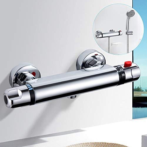 kisimixer Grifo Termostatico Ducha Termostático Ducha Grifos de Bañera Mezclador Termostático Ducha Moderno Cromo para Baño 20-50 ℃