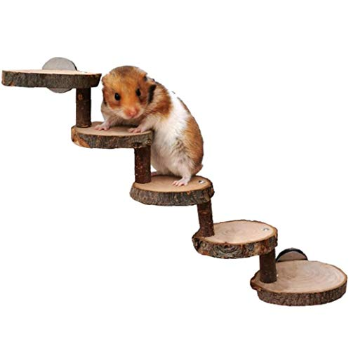 tJexePYK Hamster Escala de Madera Guinea Pig Rampa Paso Natural Pet Chinchilla rampa de Escalera pequeña para Mascotas Juguetes para roedores