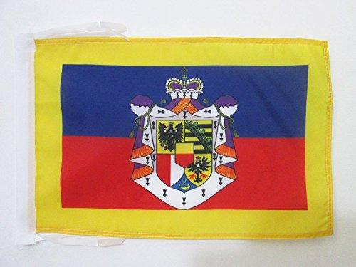 AZ FLAG Flagge STANDARTE des FÜRSTEN VON Liechtenstein 45x30cm mit Kordel - LIECHTENSTEINISCHE Fahne 30 x 45 cm - flaggen Top Qualität