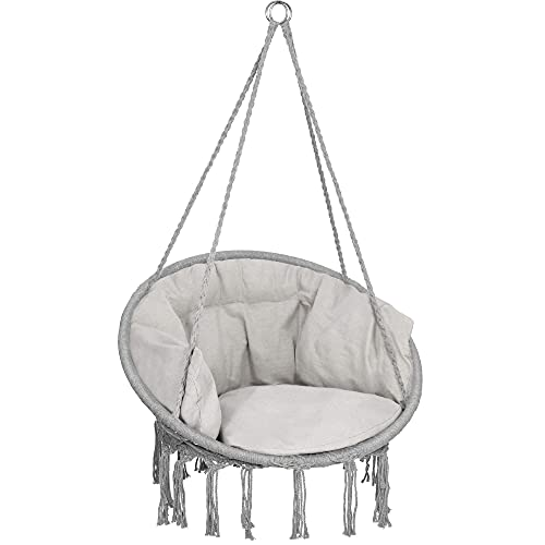 SPRINGOS Columpio de jardín colgante con cojín de estilo bohemio para colgar con cuerdas y anillos para interior y exterior (gris)