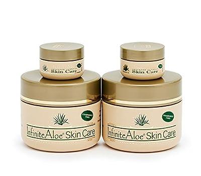 Infinite Aloe Skin Care Cream, Fragrance Free, 2-8oz Jars (Plus 2 Bonus 0.5 oz InfiniteAloe Travel Jars)